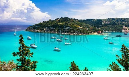 Beautiful turquoise bay Lakka in Paxos island. Ionian islands of Greece