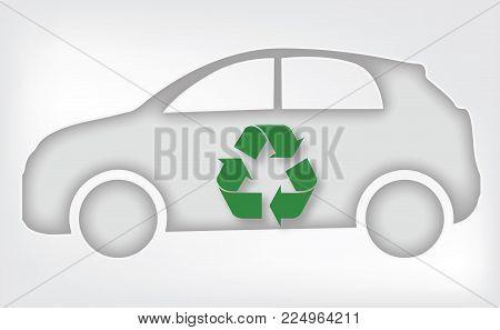 eco car icon environment recycle symbol vector illustration eps 10
