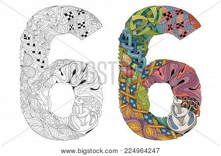 Hand-painted art design. Number six zentangle objects. Colored and outline set