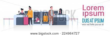 Airport Workers On Counter Checking In Male Passengers, Departures Board Concept Flat Vector Illustration
