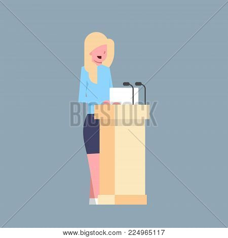 Business Woman Speaker Sanding At Tribune Character Businesswoman Corporate Isolated Flat Vector Illustration