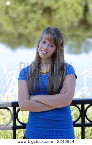 Teenage Girl By Waterfront