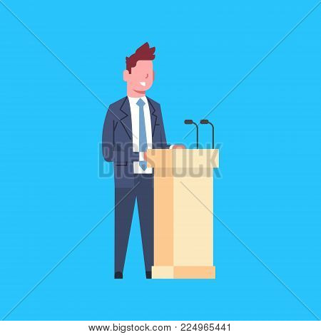Business Man Speaker Sanding At Tribune Character Businessman Corporate Isolated Flat Vector Illustration