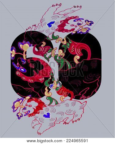 Numeral and japanese tigers with flowers for t shirt apparels printing. Vector sticker, patch in oriental style.