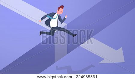 Business Risk Concept With Businessman Jumping Over Gap On Arrow Chart Flat Vector Illustration