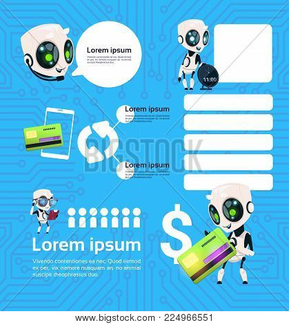 Set of Modern Robot Technology Chatbots Service On Blue Background With Circuit Artificial Intelligence Infographic Template Elements Flat Vector Illustration