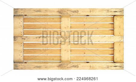 back of wood pallet on white background in top view