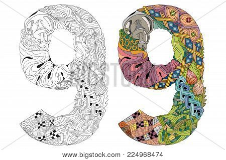 Hand-painted art design. Number nine zentangle objects. Colored and outline set