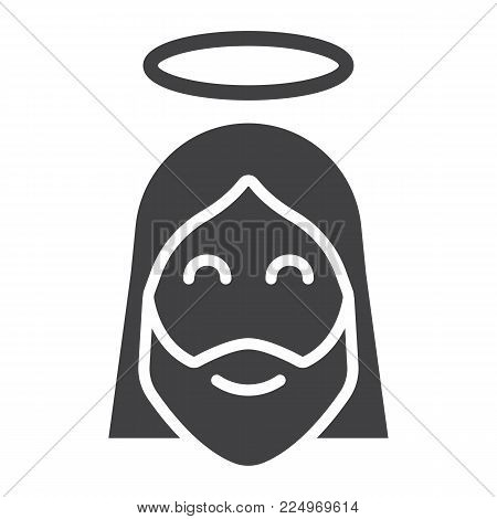 Jesus glyph icon, easter and holiday, christ sign vector graphics, a solid pattern on a white background, eps 10.