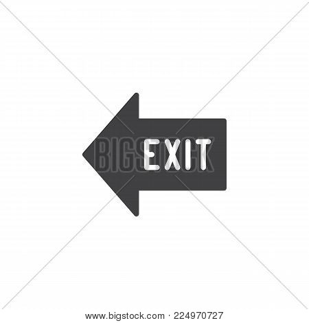 Exit arrow icon vector, filled flat sign, solid pictogram isolated on white. Emergency exit symbol, logo illustration.
