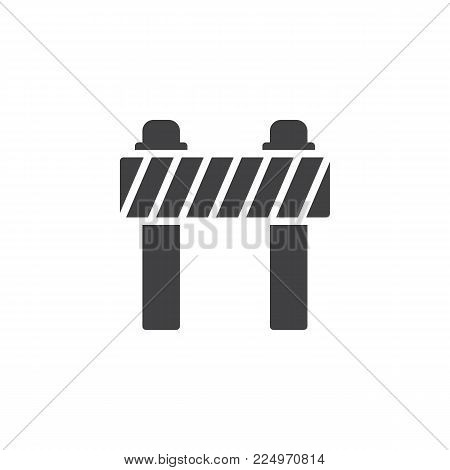 Road barrier icon vector, filled flat sign, solid pictogram isolated on white. Traffic barrier symbol, logo illustration.