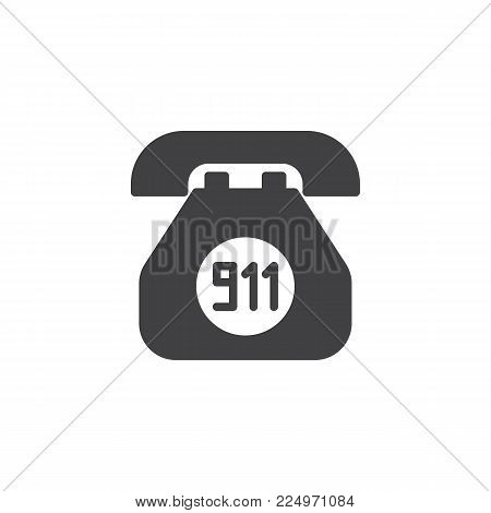 Emergency call icon vector, filled flat sign, solid pictogram isolated on white. Old phone with 911 number symbol, logo illustration.