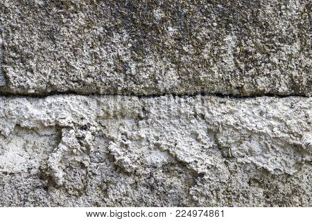 Grey concrete wall texture background. Distressed stone surface. Shabby chic design template. Old painted texture in gray. Noisy grit material background. Grunge concrete texture. Grey stone photo
