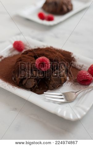 home made Chocolate lava cake (Molten) with fresh berries