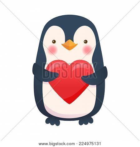 Penguin with heart. Penguin cartoon vector illustration.