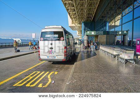 MILAN MALPENSA, ITALY - CIRCA NOVEMBER, 2017: Milan-Malpensa airport, Terminal 1 at daytime.