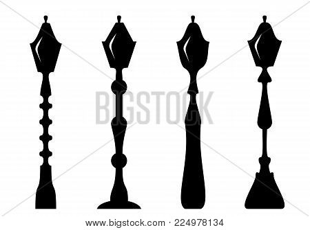 Set of thel amp post. Silhouette. Isolate on white. Vector illustration