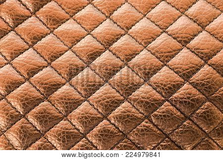Seam Black Leather Texture Background. Organic Leather Background. Black Natural Leather Texture