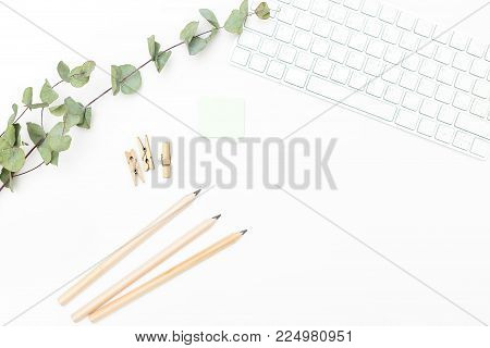 Desk and office supplies on a white background. Scandinavian style