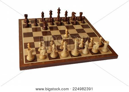 Photo of chess opening on white background. Nimzovitsch Defence.