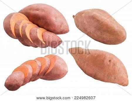 Sweet Pink Potato Isolated On White Background