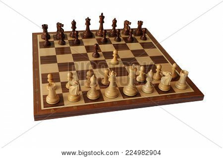 Photo of chess opening on white background. Scandinavian Defence.