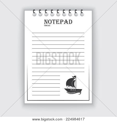Template for notepad. Objects on the marine theme. Drawn elements. Vector illustration.