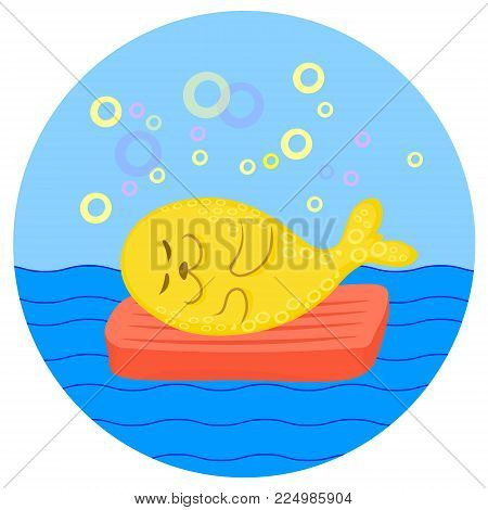 Cute lazy yellow ringed seal lying on red air mattress on sea waves. Vector color cartoon image.