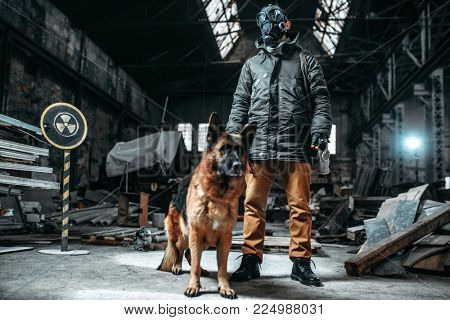 Stalker in gas mask and dog in radioactive zone