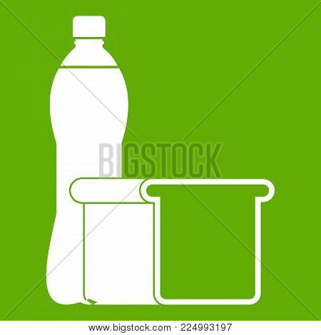 Food icon white isolated on green background. Vector illustration