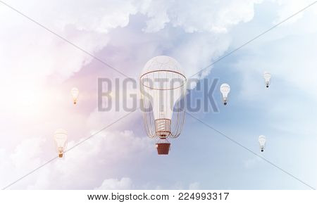 Colorful aerostats flying over the blue cloudy sky. 3D rendering.