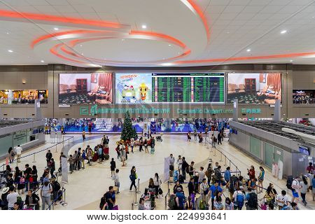 Visitors Walking Around Departure Hall In Don Mueang International Airport