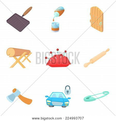 Metier icons set. Cartoon set of 9 metier vector icons for web isolated on white background