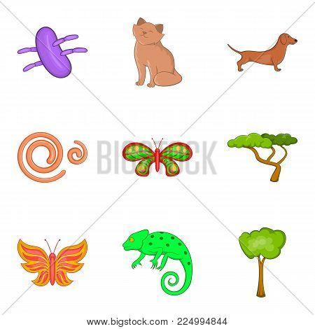Bio world icons set. Cartoon set of 9 bio world vector icons for web isolated on white background