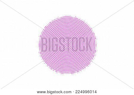 Pink On White Dotted Halftone. Half Tone Vector Background. Spotted Dotted Gradient. Feminine Futuri