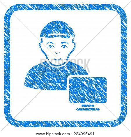 Computer User rubber seal stamp imitation. Icon vector symbol with textured design and corrosion texture inside rounded frame. Scratched blue sign. Dude face has happiness emotion.