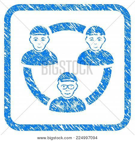 Geek Collaboration Network rubber stamp imitation. Icon vector symbol with unclean design and corrosion texture in rounded squared frame. Scratched blue stamp imitation.