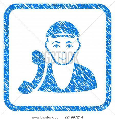 Receptionist Guy rubber seal stamp imitation. Icon vector symbol with grunge design and dirty texture inside rounded squared frame. Scratched blue stamp imitation. Dude face has enjoy expression.