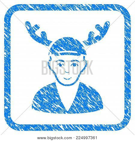 Horned Boyfriend rubber seal stamp imitation. Icon vector symbol with scratched design and corrosion texture inside rounded square frame. Scratched blue sticker. Dude face has joy expression.