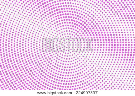 Pink On White Dotted Halftone. Half Tone Vector Background. Sparse Dotted Gradient. Feminine Futuris