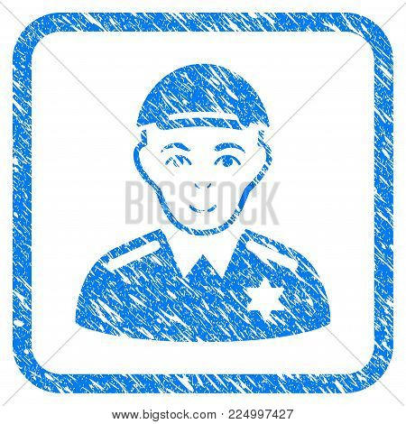 Police Sheriff rubber seal watermark. Icon vector symbol with textured design and dust texture in rounded square frame. Scratched blue emblem. Dude face has joyful emotion.