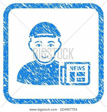 News Reader rubber stamp watermark. Icon vector symbol with unclean design and dirty texture inside rounded rectangle. Scratched blue sign. Person face has enjoy mood.