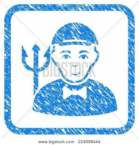 Daemon rubber stamp imitation. Icon vector symbol with grungy design and dust texture in rounded square frame. Scratched blue stamp imitation. Dude face has happy emotion. a guy from daemon in a cap.