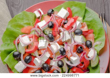 Greek salad,Vegetarian salad,dietary salad,appetizing salad,delicious salad,traditional salad
