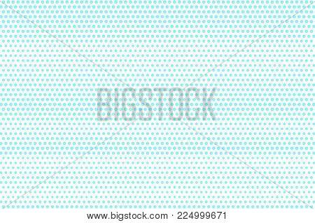 Blue White Dotted Halftone. Halftone Vector Background. Subtle Horizontal Dotted Gradient. Retro Fut