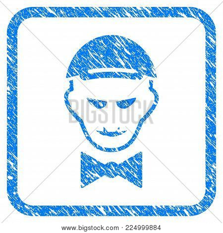 Vampire Head rubber stamp watermark. Icon vector symbol with scratched design and dirty texture in rounded square. Scratched blue emblem. Boy face has enjoy feeling. a dude from vampire head in a cap.