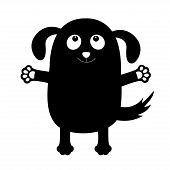 Dog puppy face black silhouette holding hands up. Pet collection. Pooch, paw print hug. Flat design. Cute cartoon funny character. White background. Isolated. Vector illustration poster