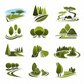 Green landscape design icons template for build and maintain service or eco environment company. Vector symbols of gardening or garden horticulture landscaping for green ecology nature trees or park poster