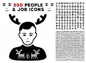 Pitiful Deers Pullover Horned Husband icon with 550 bonus sad and happy jobs pictures. Vector illustration style is flat black iconic symbols. poster