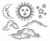 Sun, moon and clouds engraving. Retro scratching or engraved moon and sun celestial faces vector illustration in vintage style poster